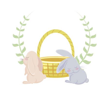 cute rabbits with basket wicker and crown of leaves vector illustration design