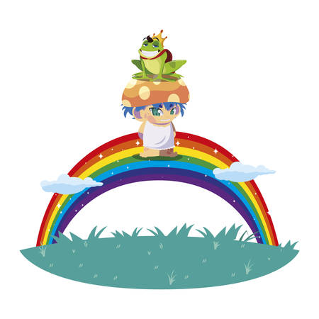 toad prince and fungu elf with rainbow vector illustration design Ilustrace