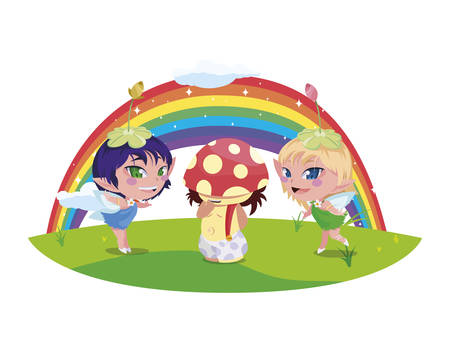 beautiful magic fairies with fungu elf and rainbow vector illustration design