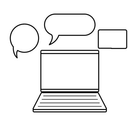 laptop computer with speech bubbles vector illustration design
