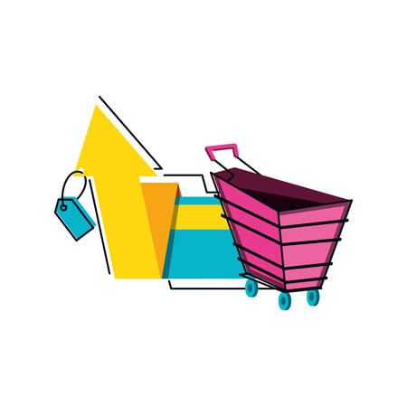 shopping cart with tag commercial and arrow up vector illustration design