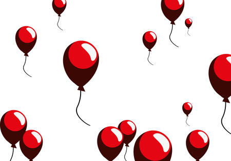 decorative red balloons white background vector illustration