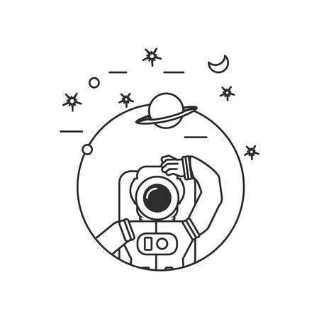 astronaut suit in frame circular with set icons vector illustration design Illustration