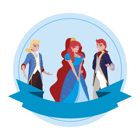 beautiful princess with princes of tales characters vector illustration design Фото со стока - 131361702