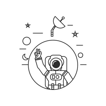astronaut suit greeting in frame circular with set icons vector illustration design Çizim