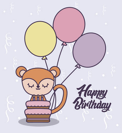 happy birthday card with cute monkey and balloons helium vector illustration design