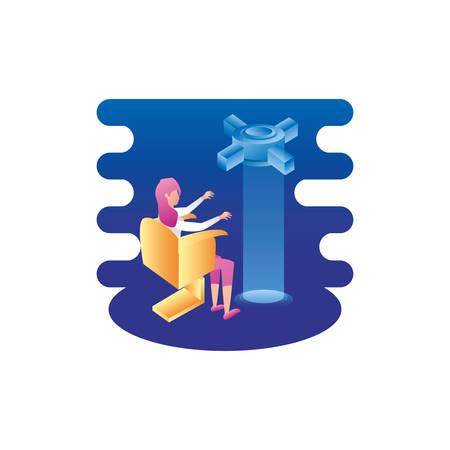 businesswoman worker with data server tech vector illustration design Çizim