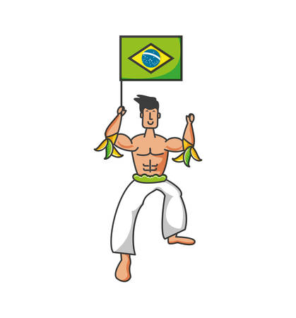 man brazilian dancer with flag of brazil vector illustration design
