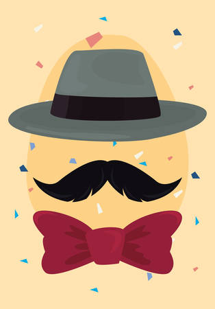 hipster hat mustache bowtie happy fathers day vector illustration 向量圖像
