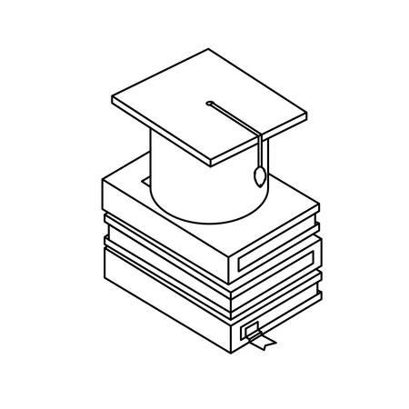text books with graduation hat vector illustration design Иллюстрация