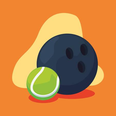 bowling and tennis sport balls equipment vector illustration Иллюстрация