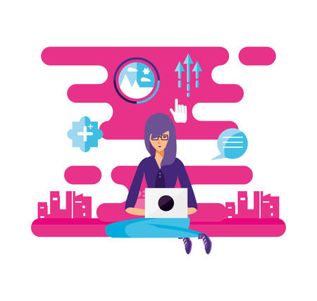woman with laptop and social media icons vector illustration design