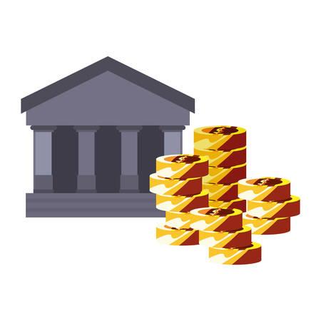 bank coins stacked money saving vector illustration
