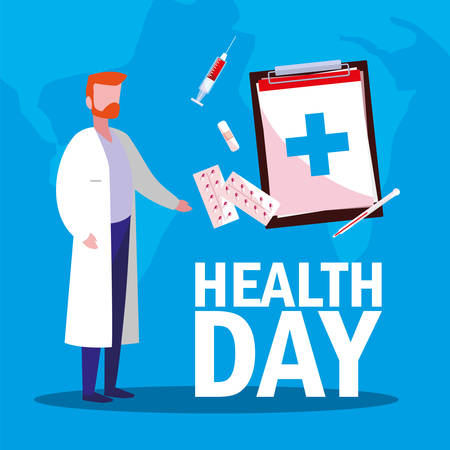 world health day card with doctor man and icons vector illustration design