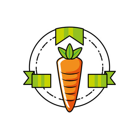 fresh carrot vegetable seal stamp vector illustration design