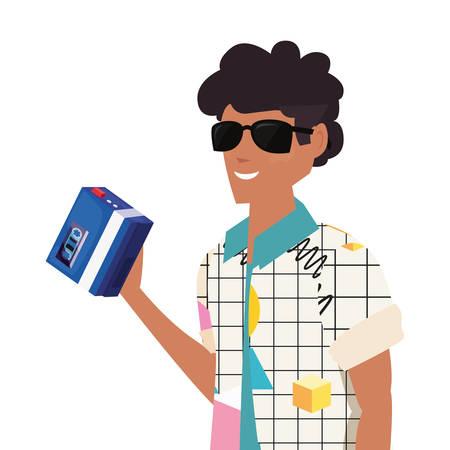 man with music retro 80s style vector illustration Иллюстрация
