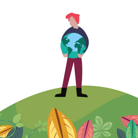 man with planet world happy earth day vector illustration Ilustração
