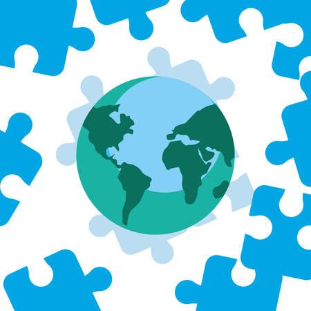 world blue puzzles autism day vector illustration Illustration