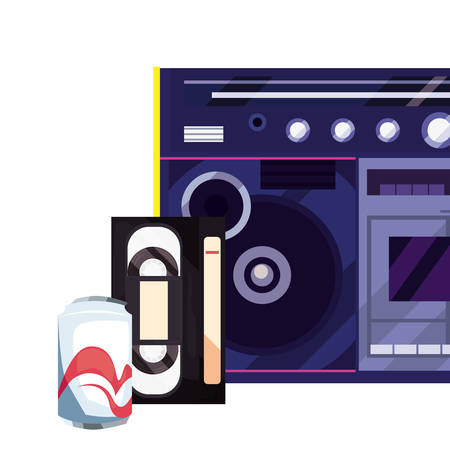 boombox stereo music videotape soda retro 80s vector illustration Иллюстрация