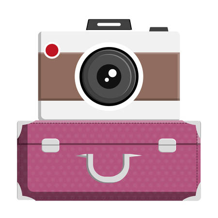 suitcase travel with camera photographic vector illustration design Ilustração