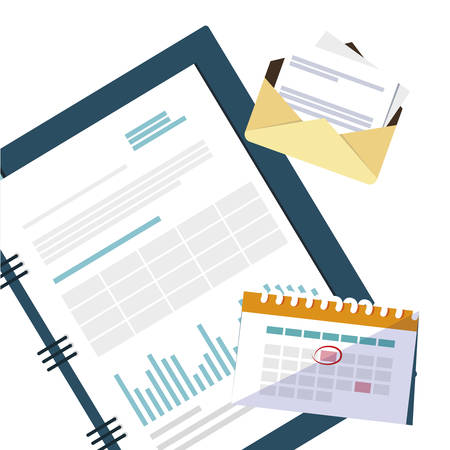 office supplies and note pad items vector illustration design