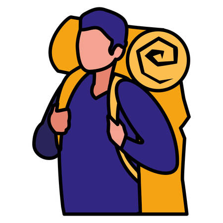 adventurous man with travelbag vector illustration design Иллюстрация