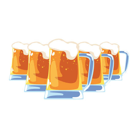 cold beer drink foam on white background vector illustration