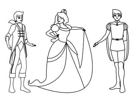 beautiful princess with princes of tales characters vector illustration design Фото со стока - 131361804