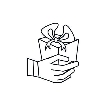 hand with gift box present vector illustration design Çizim