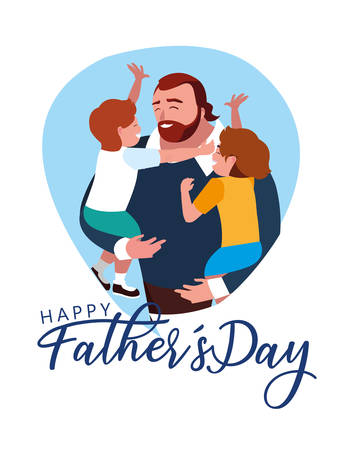 happy father day card with dad and children vector illustration design Ilustração
