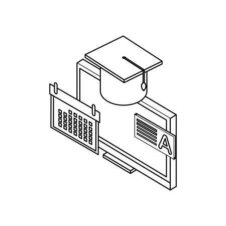 desktop computer with hat graduation vector illustration design