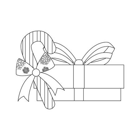 christmas gift box and candy cane vector illustration