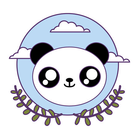 head of cute little panda bear baby with crown leafs vector illustration design 일러스트