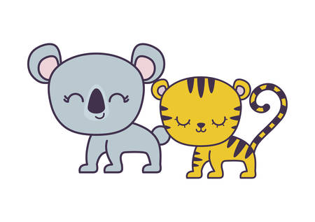 cute tiger with koala animals isolated icon vector illustration design