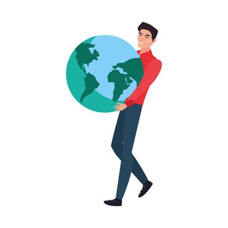 man holding world planet on white background vector illustration