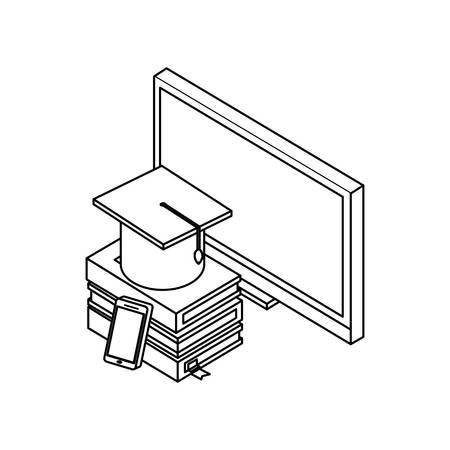desktop with ebooks icon vector illustration design