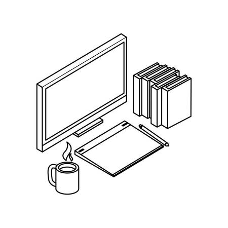 desktop with ebooks icon vector illustration design