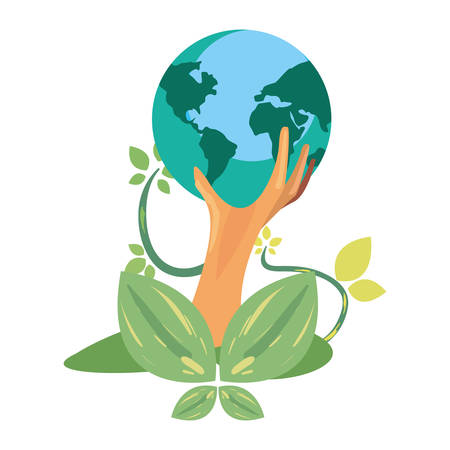 trunk tree natural leaves earth day vector illustration
