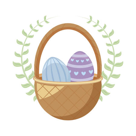 eggs of easter in basket wicker vector illustration design