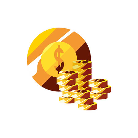 coins stacked money currency economy vector illustration