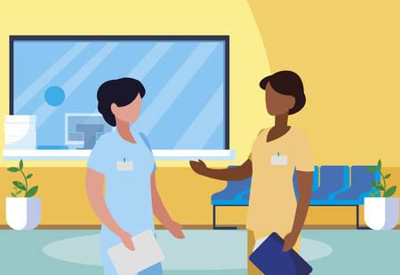 interracial female medicine workers in hospital reception vector illustration design