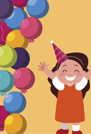 cute happy girl with birthday balloons helium vector illustration design Çizim