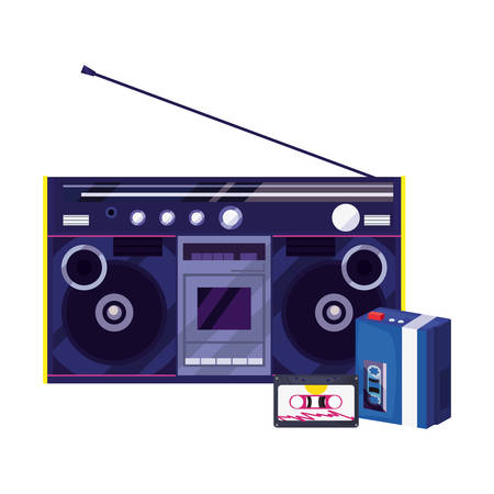 boombox stereo music cassette retro 80s vector illustration