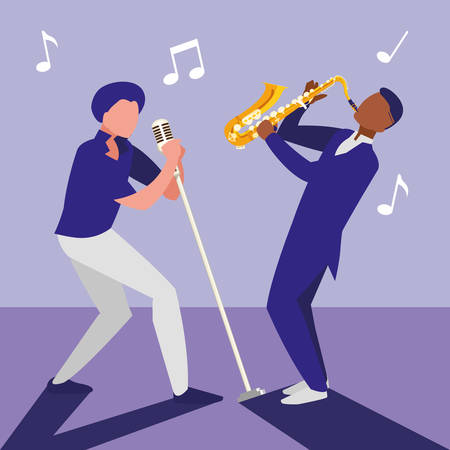singer and musician couple characters vector illustration design Çizim