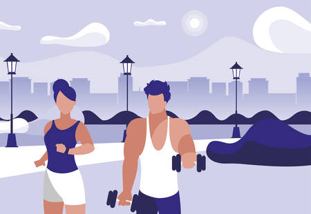 athletic man weight lifting and woman running in the park vector illustration design Foto de archivo - 131361924