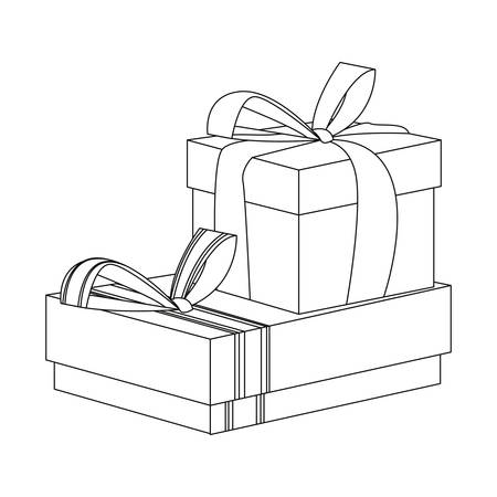 two gift boxes with bow on white background vector illustration Çizim