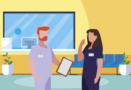 couple medicine workers in hospital reception vector illustration design  イラスト・ベクター素材