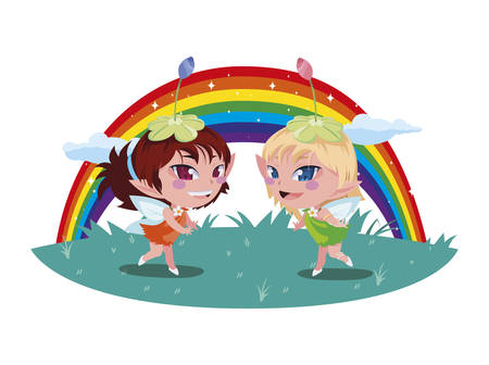 beautiful magic fairies with rainbow scene vector illustration design