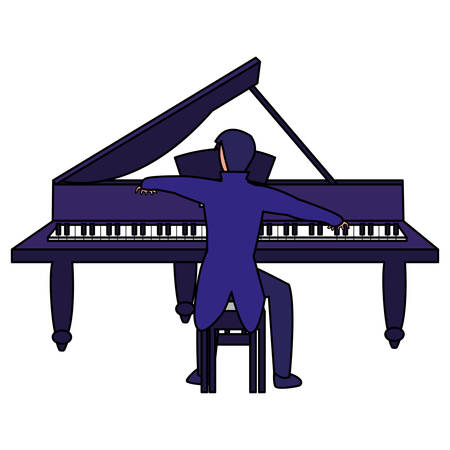 pianist playing piano character vector illustration design Illustration