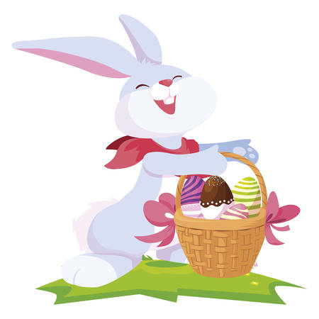 cute rabbit easter with eggs painted in basket vector illustration design Çizim